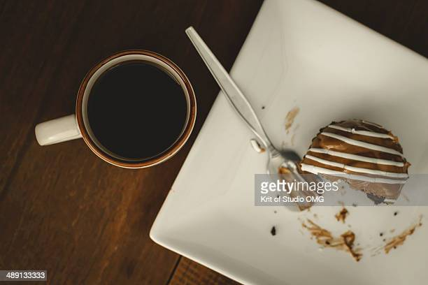 Black coffee and muffin chocolate