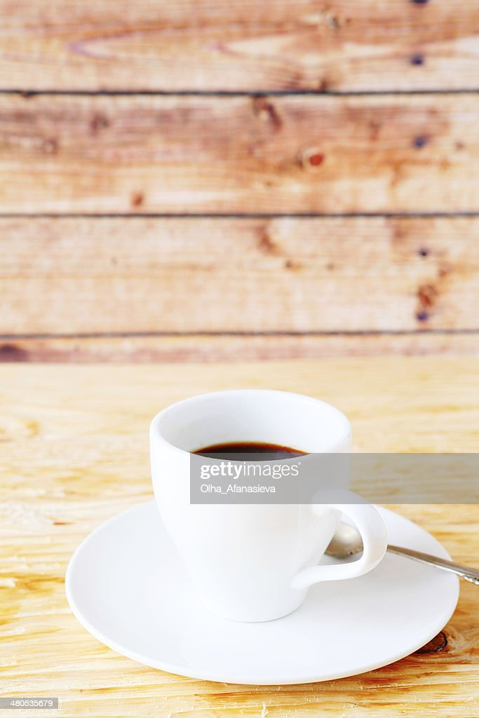 black coffee in a white cup : Stock Photo