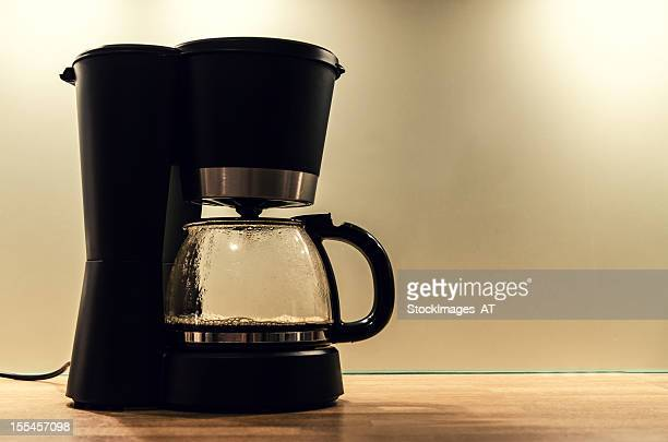 Black coffee machine, making a pot of hot coffee