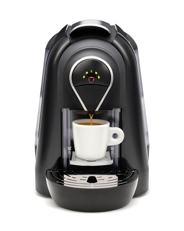 A black coffee maker with green LED lights 177395430
