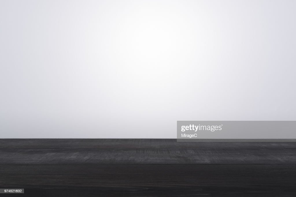 Black Colored Wood Surface Level : Stock Photo