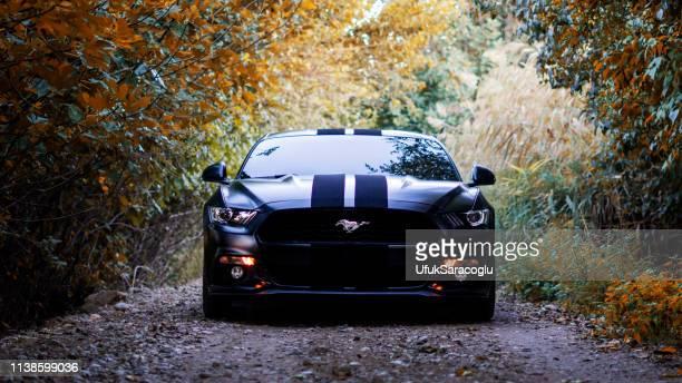 mustang convertible negro estacionado en la carretera. - ford mustang fotografías e imágenes de stock