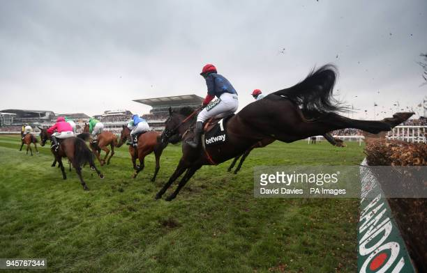 Black Corton ridden by Bryony Frost clears a fence in the Betway Mildmay Novices' Chase during Ladies Day of the 2018 Randox Health Grand National...