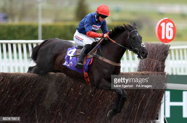 Black Corton ridden by jockey Bryony Frost competes in the RSA Insurance Novicesâ Chase during Ladies Day of the 2018 Cheltenham Festival at...