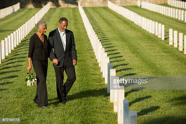Black couple at military cemetery