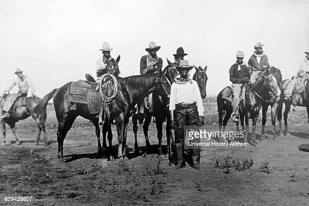 Black Cowboys on Horseback Portrait USA circa 1880