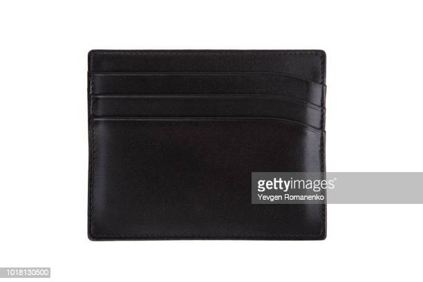black credit cards wallet isolated on white background - leather purse stock pictures, royalty-free photos & images