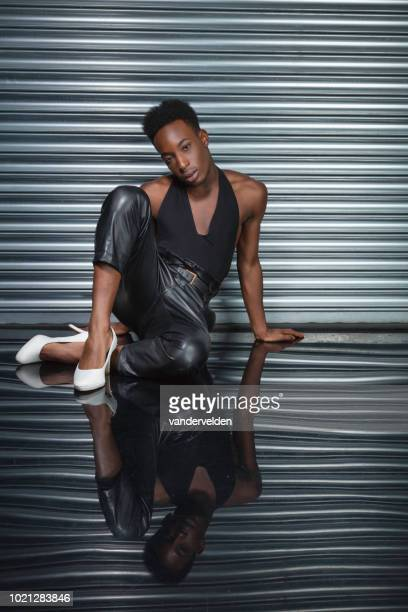 black cross dresser - black transvestite stock pictures, royalty-free photos & images