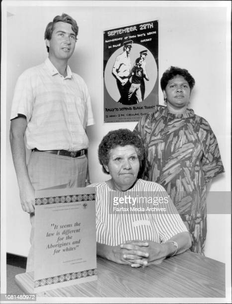 Black Deaths in Custody.L to R) Father Frank Brennan, Mum Shirl and Helen Boyle, Chairperson of the Committee to Defend Black Rights with the Kit.A...