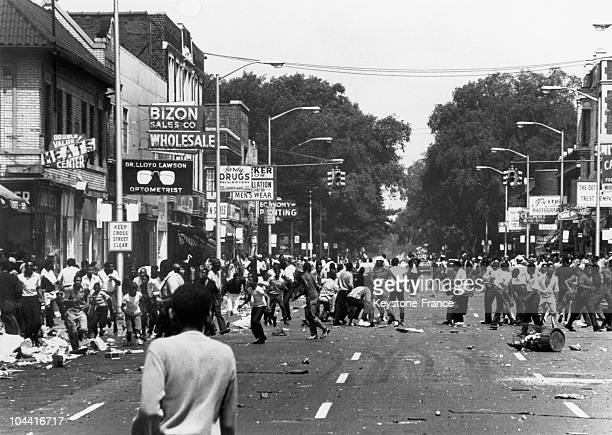 Black demonstration degenerated into a racial riot in the streets of Detroit on August 21 and the state police intervened in order to disperse the...