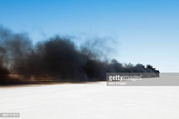 black diesel smoke from racing truck on the bonneville salt flats, ut - bonneville salt flats stock pictures, royalty-free photos & images