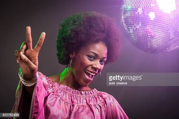 Black Disco Dancer Woman Peace Sign