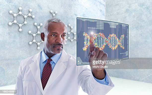 Black doctor using digital display