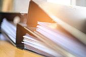 Black document file on the office desk