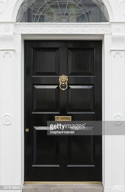 Black door, beautiful entryway in Dublin, Ireland