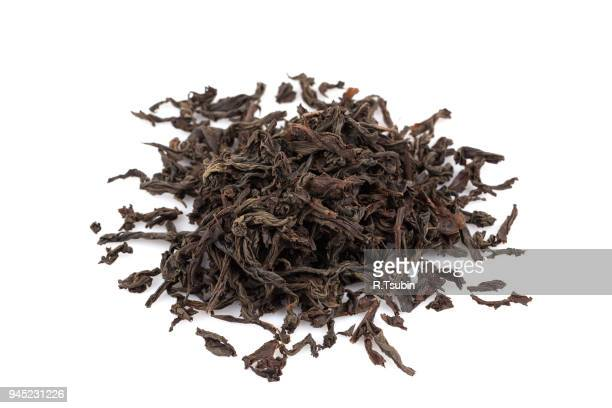 black dry tea leaves - black tea stock pictures, royalty-free photos & images