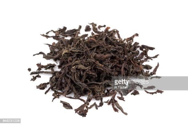 Black dry tea leaves