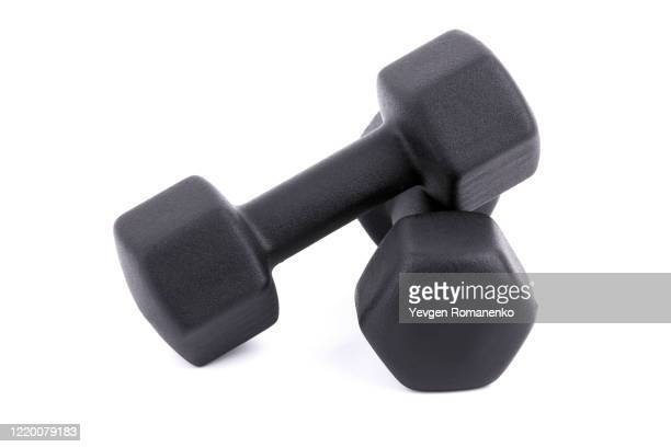 black dumbbells for fitness isolated on white background - weights stock pictures, royalty-free photos & images