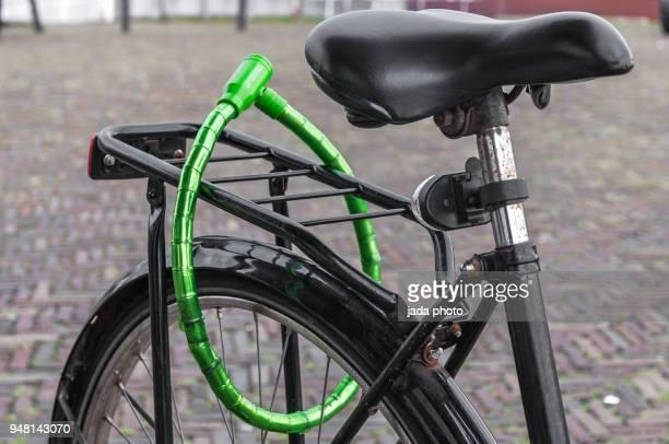 black Dutch ladies bike locked