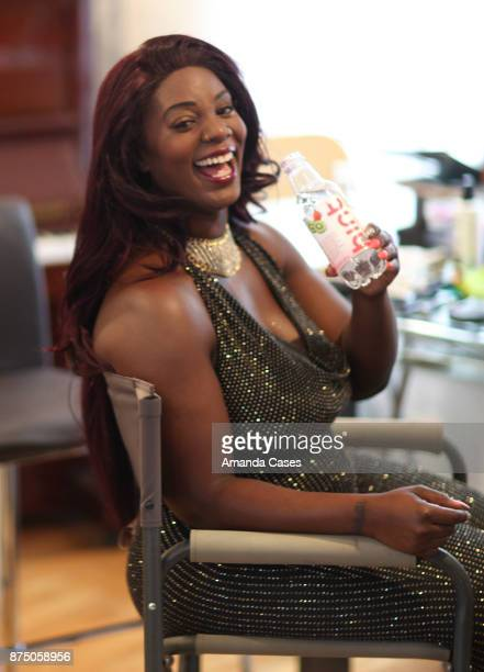 Black Dyamond drinks Hint Water at A Day of Inspiration at TAP The Artists Project on November 15 2017 in Los Angeles California