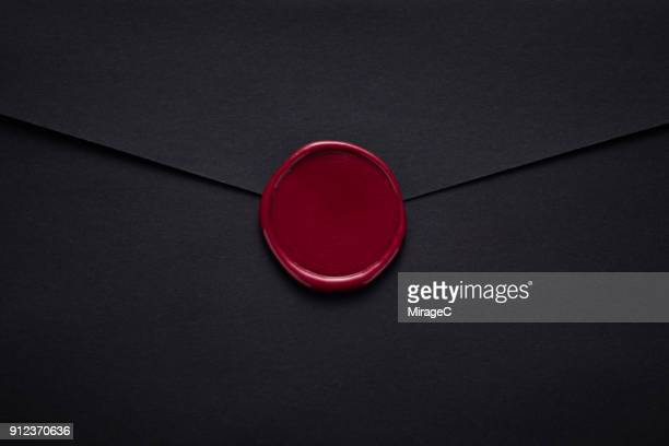Black Envelope Sealed with Wax Stamp