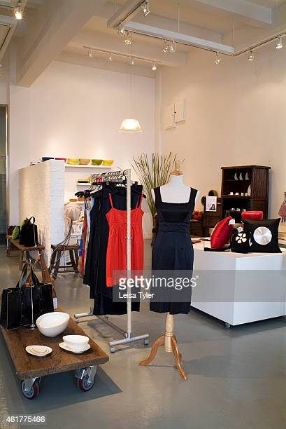 A black evening dress made from bamboo fibres at Nest a retail space showcasing ecologically conscious local brands in Shanghai China Developed by...