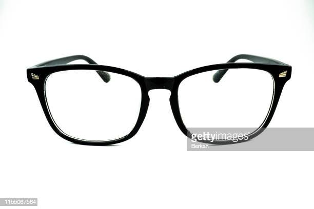 black eye glasses isolated on white background - occhiali da vista foto e immagini stock