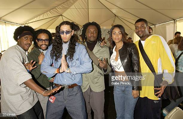 Black Eyed Peas and City High backstage at the MTV 2001 Video Music Awards during the Radio Forum at Metropolitan Opera House in New York City on...