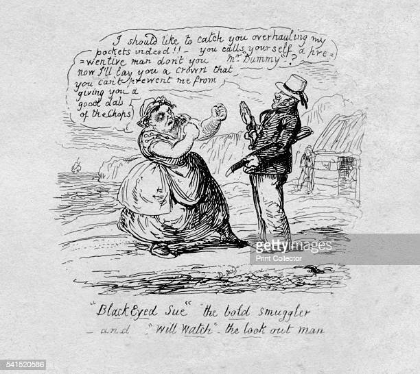 Black Eyed Sue the bold smuggler and Will Watch the look out man' 1829 From Scraps Sketches by George Cruikshank [George Cruikshank London 1829]...