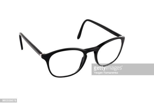 black eyeglasses isolated on white background - óculos - fotografias e filmes do acervo