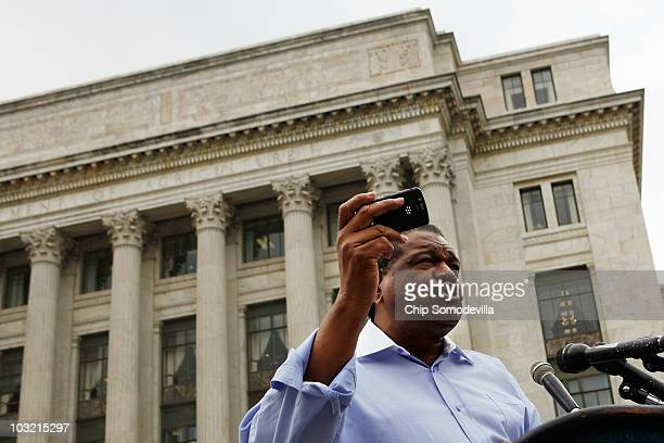 Black Farmers and Agriculturalists Association President Tom Burrell holds a news conference in front of the US Department of Agriculture where he...