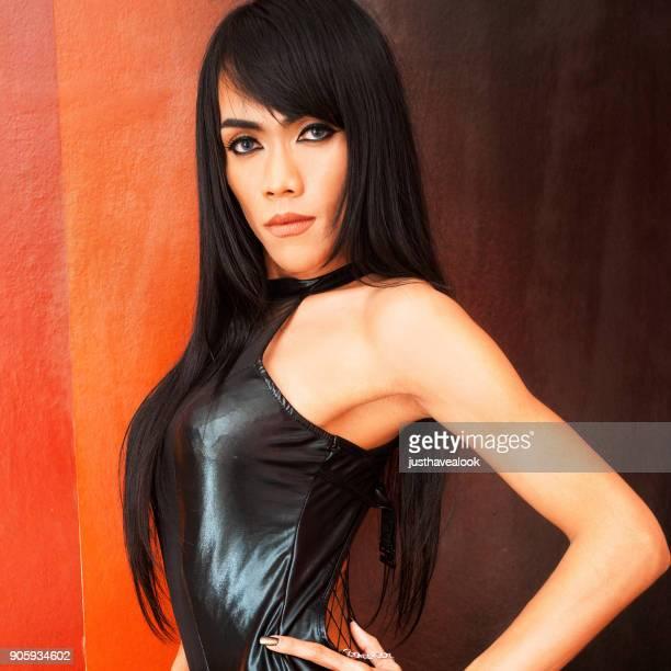 black fashion ladyboy portrait - black transgender stock pictures, royalty-free photos & images