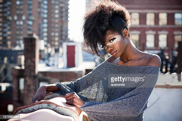 African American Beautiful Fashion Model in Makeup on NYC Rooftop