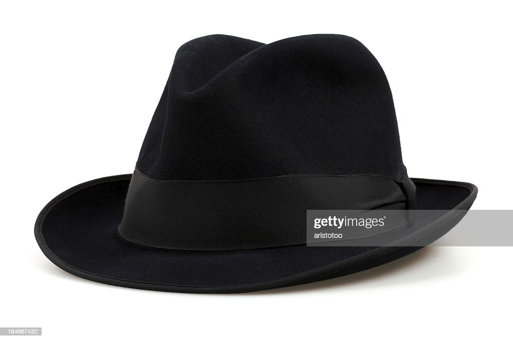 Black Fedora Hat, Isolated on White : Stock Photo