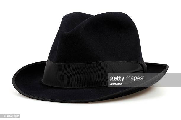 black fedora hat, isolated on white - hat stock pictures, royalty-free photos & images
