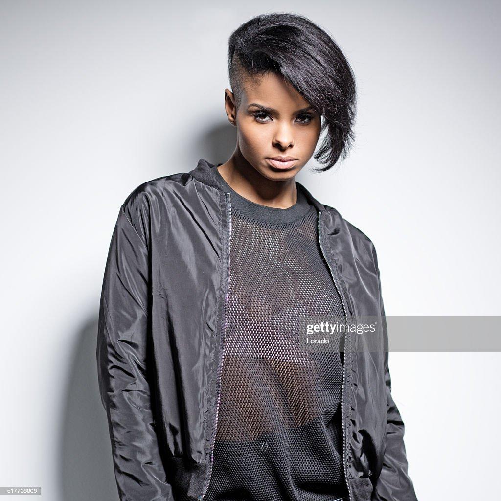 Black Fashion Models Poses: Black Female Fashion Model Posing High-Res Stock Photo