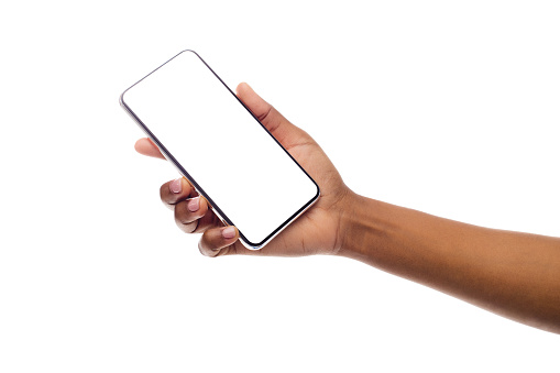 Black Female Hand Holding Frameless Smartphone With Empty Screen 1165679180