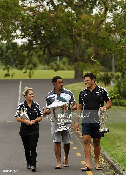 Black Fern Huriana Manuel with the IRB Women's World Cup All Black Jerome Kaino with the Bledisloe Cup and Under 20s player Angus Ta'avao Matau with...