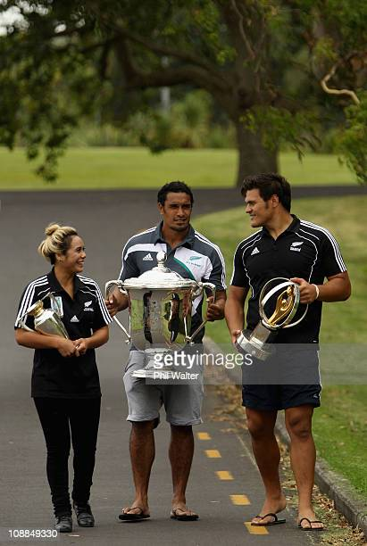 Black Fern Huriana Manuel with the IRB Women's World Cup, All Black Jerome Kaino with the Bledisloe Cup and Under 20s player Angus Ta'avao Matau with...