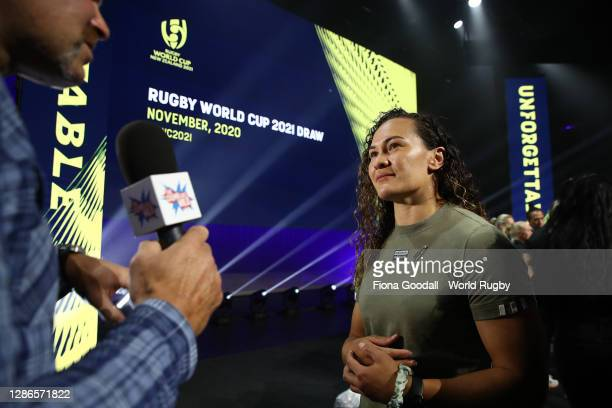 Black Fern Portia Woodman speaks to media during the Rugby World Cup 2021 Draw event at the SKYCITY Theatre on November 20, 2020 in Auckland, New...