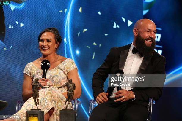 Black Fern Portia Woodman wins the Sly TV Fan's Try of the Year and DJ Forbes wins the NZRPA Kirjk Award during the ASB Rugby Awards 2018 at Sky City...