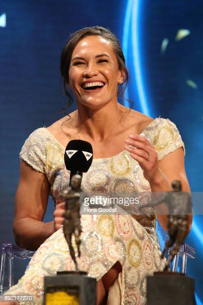 Black Fern Portia Woodman wins the Sly TV Fan's Try of the Year during the ASB Rugby Awards 2018 at Sky City on December 14 2017 in Auckland New...