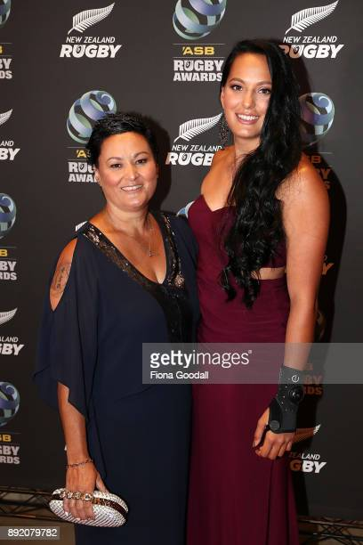 Black Fern Sevens player Tyla NathanWong and her mum Deanne on the red carpet during the ASB Rugby Awards 2018 at Sky City on December 14 2017 in...