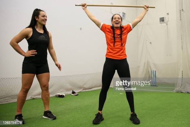 Black Fern Tyla Nathan-Wong practices her lifting with help from team mate Stacey Fluhler during a New Zealand Black Ferns training session at Kolmar...