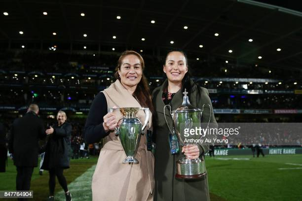Black Ferns Captain Fiao'o Faamausili and Black Ferns Sevens Assistant Captain Tyla NathanWong pose for a photo with the Women's Rugby World Cup...
