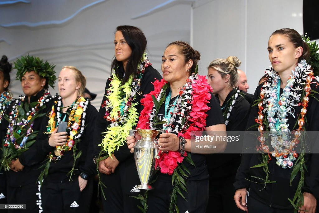 Black Ferns captain Fiao'o Faamausili holds the trophy as the New Zealand Black Ferns are welcomed home at Auckland International Airport on August 29, 2017 in Auckland, New Zealand. New Zealand won the 2017 Women's Rugby World Cup by defeating England in the Final in Belfast.