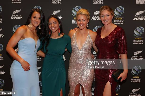Black Ferns Charmaine Smith Stacey Waaka Chelsea Alley and Becky Wood during the ASB Rugby Awards 2018 at Sky City on December 14 2017 in Auckland...