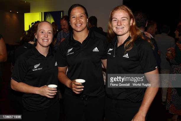 Black Ferns Kendra Cocksedge, Charmaine McMenamin, Grace Brooker pose during the Rugby World Cup 2021 Draw event at the SKYCITY Theatre on November...