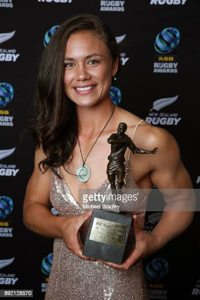 Black Ferns Ruby Tui from Canterbury poses with her trophy for winning the Black Ferns Sevens Player of the Year during the ASB Rugby Awards 2018 at...