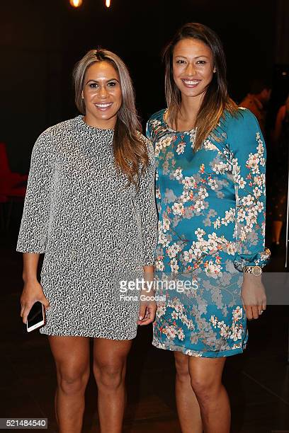 """Black Ferns rugby players Huriana Manuel and Carla Hohepa attend a screening of """"Eddie the Eagle"""" at Hoyts Sylvia Park on April 16, 2016 in Auckland,..."""